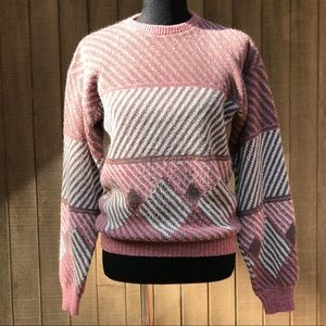 Vintage FARGO Pink Sweater 1960s Mod Art Medium
